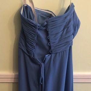 Bill Levkof bridesmaids dress in cornflower blue